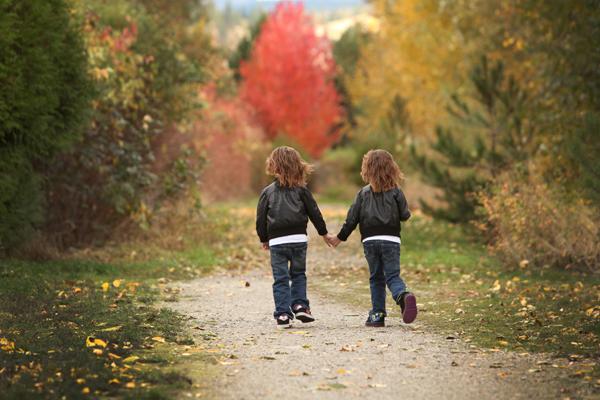 fall portrait of twins